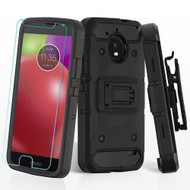 3-IN-1 Kinetic Hybrid Armor Case with Holster and Tempered Glass Screen Protector for Motorola Moto E4 - Black