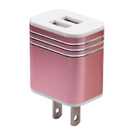 Metal Alloy 3.1A Dual USB Travel Wall Charger - Rose Gold