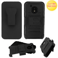 Advanced Armor Hybrid Kickstand Case + Holster + Tempered Glass Protector for Motorola Moto E4 - Black