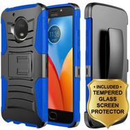 *Sale* Advanced Armor Hybrid Kickstand Case + Holster + Tempered Glass for Motorola Moto E4 - Black Blue
