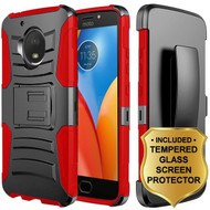 Advanced Armor Hybrid Kickstand Case + Holster + Tempered Glass Protector for Motorola Moto E4 - Black Red