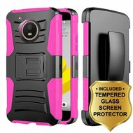 Advanced Armor Hybrid Kickstand Case + Holster + Tempered Glass Protector for Motorola Moto E4 - Black Hot Pink