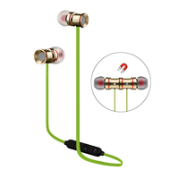 Magnetic Earbuds Bluetooth 4.1 Wireless Aluminum Alloy Headphones - Gold Green