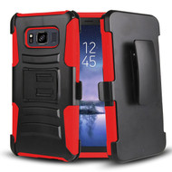 *SALE* Advanced Armor Hybrid Kickstand Case with Holster Belt Clip for Samsung Galaxy S8 Active - Black Red