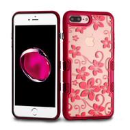 TUFF Panoview Transparent Hybrid Case for iPhone 8 Plus / 7 Plus - Hibiscus Flower Red