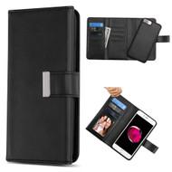 2-IN-1 Premium Tri-Fold Leather Wallet + Removable Magnetic Case for iPhone 8 Plus / 7 Plus / 6S Plus / 6 Plus - Black