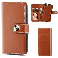 *SALE* 2-IN-1 Premium Leather Wallet with Removable Magnetic Case for iPhone 8 Plus / 7 Plus / 6S Plus / 6 Plus - Brown