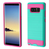 Brushed Hybrid Armor Case for Samsung Galaxy Note 8 - Teal Green Hot Pink