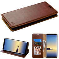 Book-Style Leather Folio Case for Samsung Galaxy Note 8 - Brown