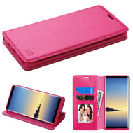 *SALE* Book-Style Leather Folio Case for Samsung Galaxy Note 8 - Hot Pink