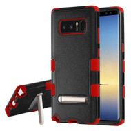 Military Grade Certified TUFF Hybrid Armor Case with Stand for Samsung Galaxy Note 8 - Black Red