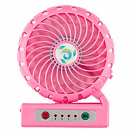 Portable 2200mAh Power Bank Battery USB Charger with Integrated Mobile Fan - Pink