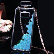 Perfume Bottle Quicksand Glitter Case for Samsung Galaxy S8 Plus - Blue
