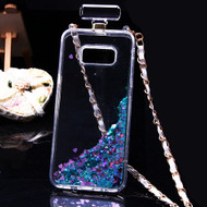 Perfume Bottle Quicksand Glitter Case for Samsung Galaxy S8 Plus - Teal Green