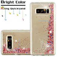 Diamond Quicksand Glitter Transparent Case for Samsung Galaxy Note 8 - Rose Gold
