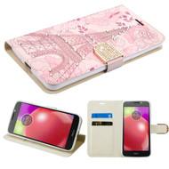 Luxury Bling Portfolio Leather Wallet Case for Motorola Moto E4 - Eiffel Tower