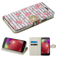 Luxury Bling Portfolio Leather Wallet Case for Motorola Moto E4 - Pink Fresh Roses