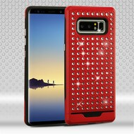Luxury Bling Diamond Hybrid Case for Samsung Galaxy Note 8 - Red