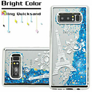 Electroplating Quicksand Glitter Transparent Case for Samsung Galaxy Note 8 - Eiffel Tower Silver