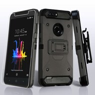 3-IN-1 Kinetic Hybrid Armor Case with Holster and Tempered Glass Screen Protector for ZTE Blade Z Max - Dark Grey