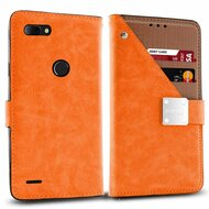 *SALE* Cosmopolitan Leather Canvas Wallet Case for ZTE Blade Z Max - Orange
