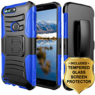 *Sale* Advanced Armor Hybrid Kickstand Case + Holster + Tempered Glass Screen Protector for ZTE Blade Z Max - Blue