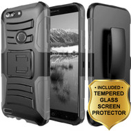 *SALE* Advanced Armor Hybrid Kickstand Case + Holster + Tempered Glass Screen Protector for ZTE Blade Z Max - Grey