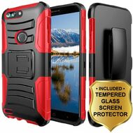 *SALE* Advanced Armor Hybrid Kickstand Case + Holster + Tempered Glass Screen Protector for ZTE Blade Z Max - Red