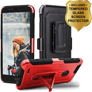 *SALE* 3-IN-1 Heavy Duty Hybrid Armor Case with Holster and Tempered Glass Screen Protector for ZTE Blade Z Max - Red