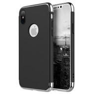 *SALE* GripTech 3-Piece Chrome Frame Slim Case for iPhone XS / X - Black