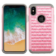 *SALE* TotalDefense Diamond Hybrid Case for iPhone XS / X - Pearl Pink Grey