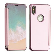 Electroplating Book-Style Case with Semi-Transparent Flip Cover for iPhone XS / X - Rose Gold