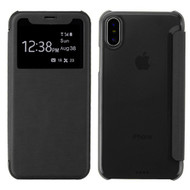 Book-Style Hybrid Flip Case with Window Display for iPhone XS / X - Black