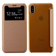 *SALE* Book-Style Hybrid Flip Case with Window Display for iPhone XS / X - Gold
