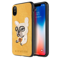 Adorable Puppy Embroidery Case for iPhone X - French Bulldog
