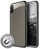 *SALE* Carbon Metallic Luxury Fusion Case with Magnetic Back Plate for iPhone XS / X - Grey