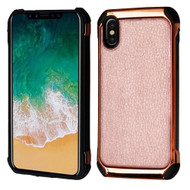 *SALE* Electroplated Tough Anti-Shock Hybrid Case with Leather Backing for iPhone XS / X - Rose Gold