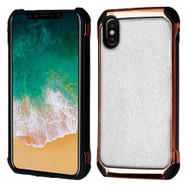 *SALE* Electroplated Tough Anti-Shock Hybrid Case with Leather Backing for iPhone XS / X - White