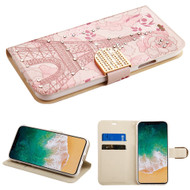 Luxury Bling Portfolio Leather Wallet Case for iPhone XS / X - Eiffel Tower