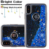Quicksand Glitter Transparent Case for iPhone XS / X - Blue