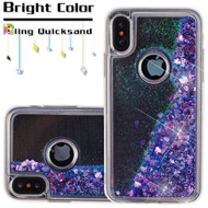 Quicksand Glitter Transparent Case for iPhone XS / X - Purple