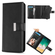 2-IN-1 Premium Tri-Fold Leather Wallet with Removable Magnetic Case for iPhone XS / X - Black