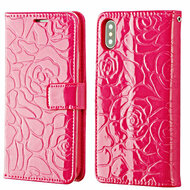 *SALE* Embossed Rose Design Patent Leather Wallet Case for iPhone XS / X - Hot Pink