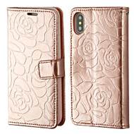 Embossed Rose Design Patent Leather Wallet Case for iPhone XS / X - Rose Gold