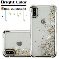 Confetti Quicksand Glitter Electroplating Transparent Case for iPhone XS / X - Silver