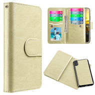 Luxury Timberland Series Double Flop Leather Wallet with Removable Magnetic Case for iPhone X - Gold