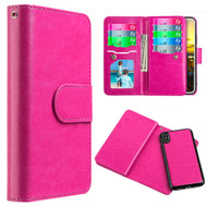 Luxury Timberland Series Double Flop Leather Wallet with Removable Magnetic Case for iPhone X - Hot Pink