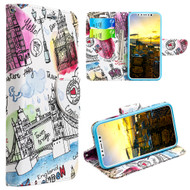 Designer Graphic Leather Wallet Stand Case for iPhone X - Escape to London