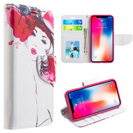 Designer Graphic Leather Wallet Stand Case for iPhone X - Haute Couture