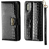 Crocodile Embossed Leather Wallet Case for iPhone XS / X - Black